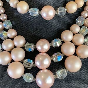 Jewelry - Vintage Costume Pink Pearl Multi Strand Necklace